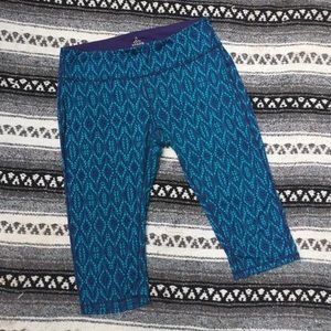 PrAna Blue Workout Capris L